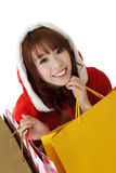 Christmas girl shopping Royalty Free Stock Photo