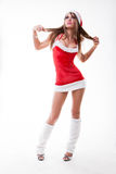 Christmas girl in short and sexy costume Royalty Free Stock Photo