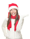 Christmas girl showing copy space Royalty Free Stock Photo