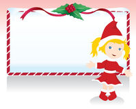 Christmas girl with signboard Royalty Free Stock Photos