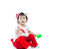 Christmas girl sitting and waiting Royalty Free Stock Photo