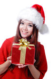 Christmas Girl Smile. Holding Gift Box, Model is a cute Asian beauty,  isolated on white background Stock Images