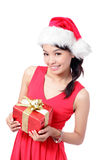 Christmas Girl Smile Holding Gift Box Stock Photo
