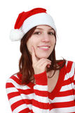 Christmas girl smiling - isolated Royalty Free Stock Photo