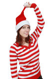 Christmas girl smiling - isolated Stock Photos