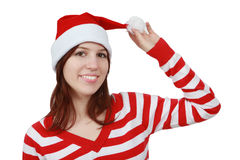 Christmas girl smiling - isolated Royalty Free Stock Images