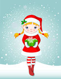 Christmas girl in snow Stock Photo