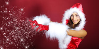 Christmas girl with snow flakes Stock Images