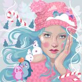 Christmas girl, Snow Maiden, candy winter town. Beautiful bright Christmas girl, Snow Maiden, Christmas trees, lollipops, mandarins, snowman, snowflakes and Royalty Free Stock Photography