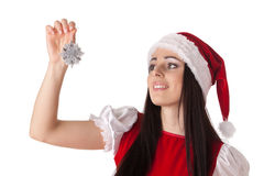 Christmas girl with snowflake. Royalty Free Stock Images