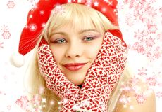 Christmas girl with snowflakes royalty free stock images