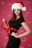 Christmas girl in soap bubbles Royalty Free Stock Photos