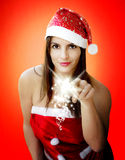Christmas girl with sparkling stars Royalty Free Stock Photos