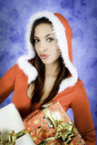 Christmas girl with two gifts Royalty Free Stock Image