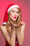 Christmas girl wearing santa claus clothes Royalty Free Stock Photo