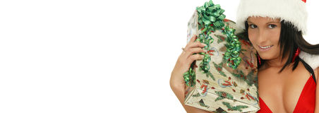 Christmas girl web banner Royalty Free Stock Photo