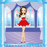 Christmas Girl In Winter Interior. Christmas illustration of brunette girl dressed as Santa Claus in the winter interior Stock Photos