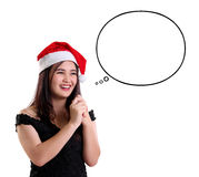 Christmas girl wishes on comic bubble Royalty Free Stock Photo