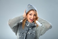 Christmas girl, young beautiful smiling over blue Stock Photography