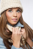 Christmas girl, young beautiful woman over white background.  stock image