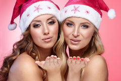 Christmas girlfriends Royalty Free Stock Images