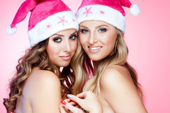 Christmas girlfriends Stock Images