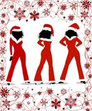 Christmas Girls. Illustration of three silhouette woman in one-piece Christmas outfits with matching hat Royalty Free Stock Image