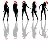 Christmas Girls Background. An illustrated set of the silhouetted Christmas girls in various poses, isolated on white background Royalty Free Stock Photos