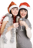 Christmas girls with champagne Royalty Free Stock Photo