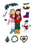 Christmas Girls & Icons stock illustration