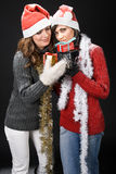 Christmas Girls with Presents Stock Photo