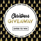 Christmas giveaway. Enter to win. Vector template with Christmas tree pattern for holiday contest royalty free illustration
