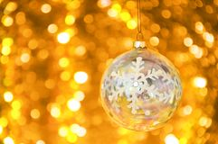 Christmas glass ball bokeh background. stock photo