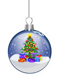 christmas glass ball with colorful tree Royalty Free Stock Photo