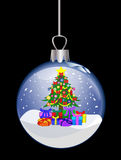 Christmas glass ball with colorful tree Stock Photo