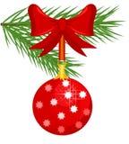 Christmas glass ball on fir Royalty Free Stock Images