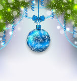Christmas glass ball, fir branches, streamer, copy space for you Royalty Free Stock Photo