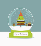 Christmas glass ball with fir tree. royalty free illustration