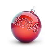 Christmas glass ball, new year 2014. On a white background Stock Photo