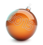 Christmas glass ball, new year 2015. On a white background Stock Photography