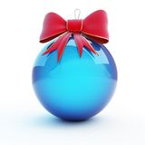 Christmas glass ball red bow Royalty Free Stock Photography