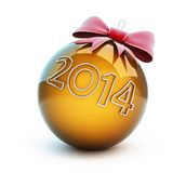 Christmas glass ball red bow. New year 2014 on a white background Royalty Free Stock Photography