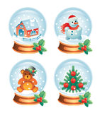 Christmas glass ball set. Christmas glass balls with winter symbols inside. Christmas tree, snowman, toy bear, gingerbread house royalty free illustration