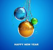 Christmas glass ball Toys 2014 new year. On a white background Royalty Free Stock Photos