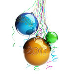 Christmas glass ball Toys 2017 new year on a white background. Stock Photo