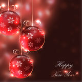 Christmas glass balls on the blurry background with lights, Stock Photos