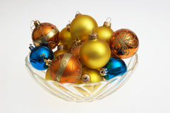 Christmas glass balls in the platter stock images