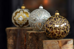 Christmas glass baubles Stock Photos