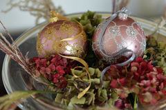 Christmas glass baubles Stock Photography