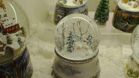 Christmas glass globe stock video footage
